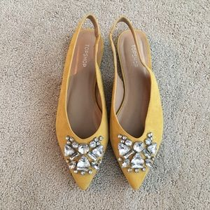 Topshop Jeweled Pointed Toe Flats